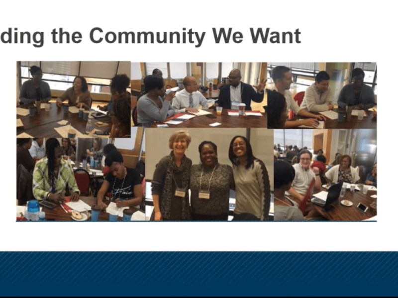 """Screenshot of the webinar. It reads """"Building the Community We Want."""""""